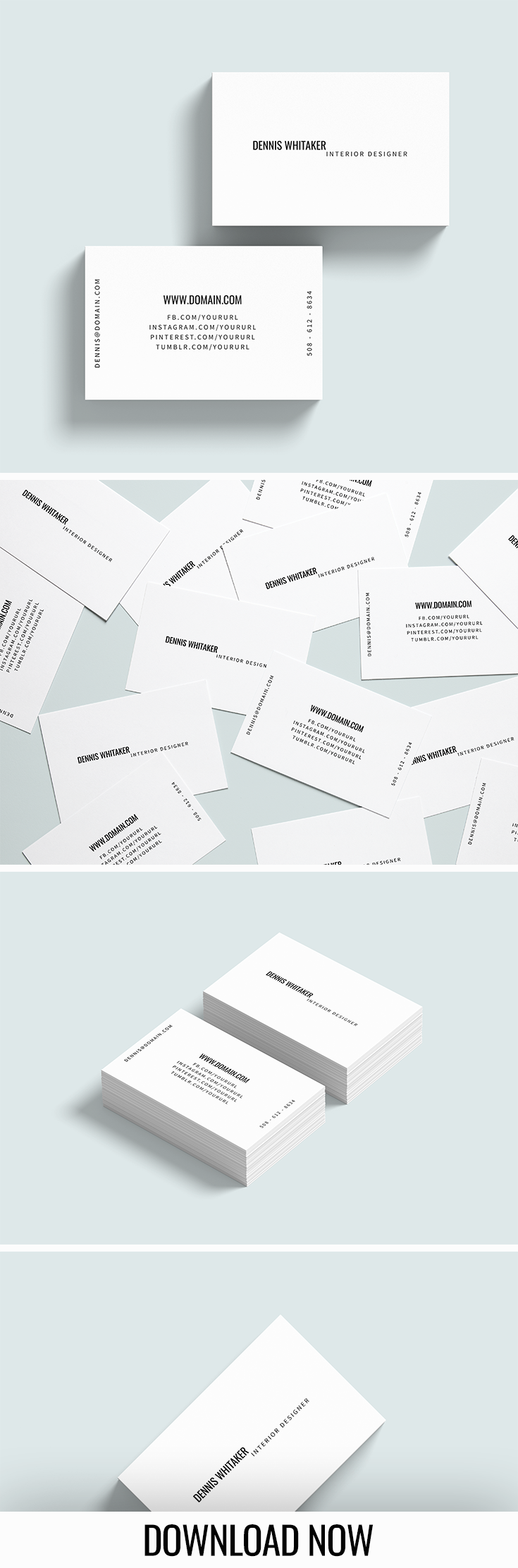 Dennis Whitaker Business Card Template 85mm X 55mm Business Card Design Minimal Business Card Text Business Card Inspiration