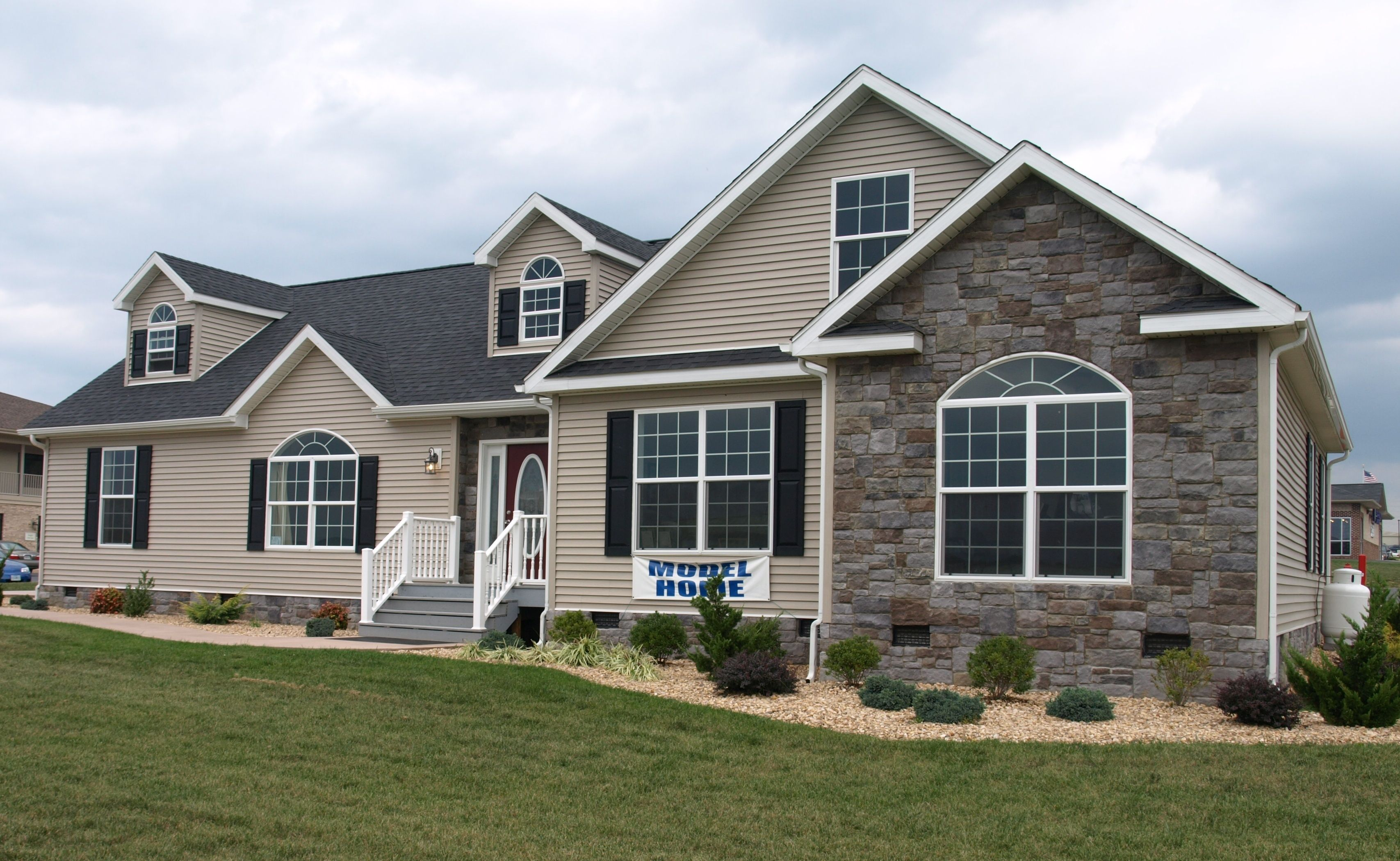 Valley Custom Modular Homes With Brick Stone Wall Exterior