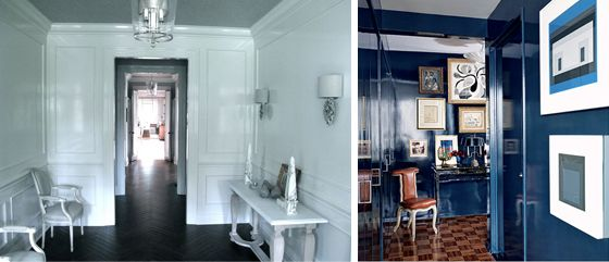 White Lacquer Lacquered Walls Black Herringbone Floors Navy