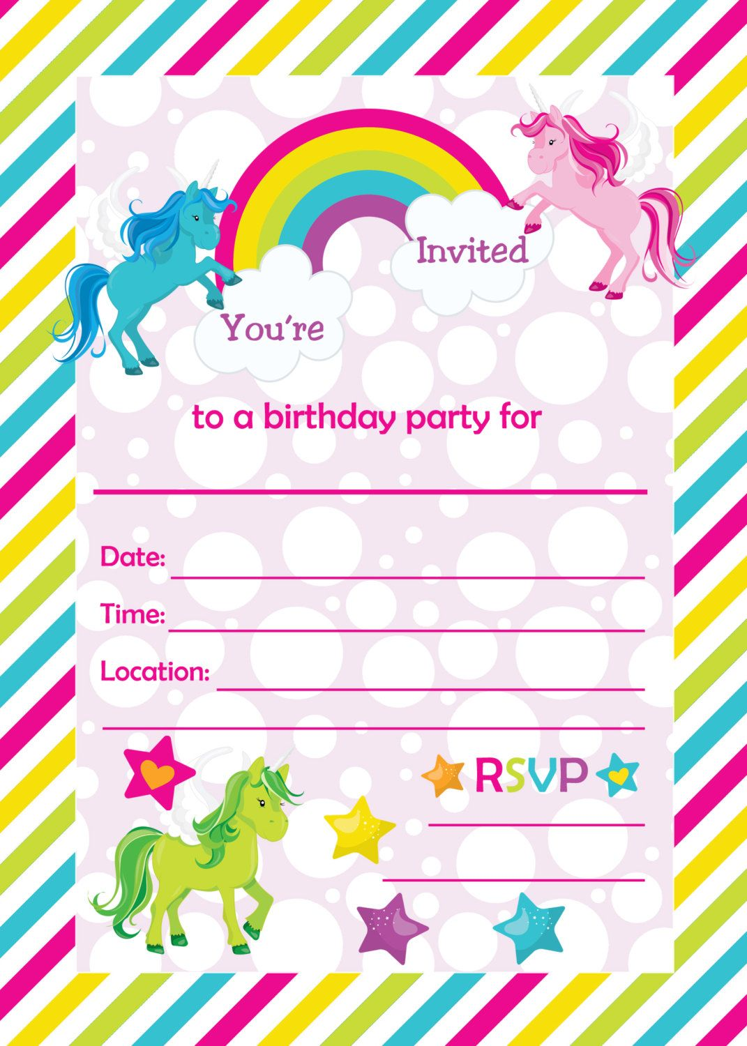Fill In Birthday Party Invitations Printable Rainbows And Unicorns Blank Invitation