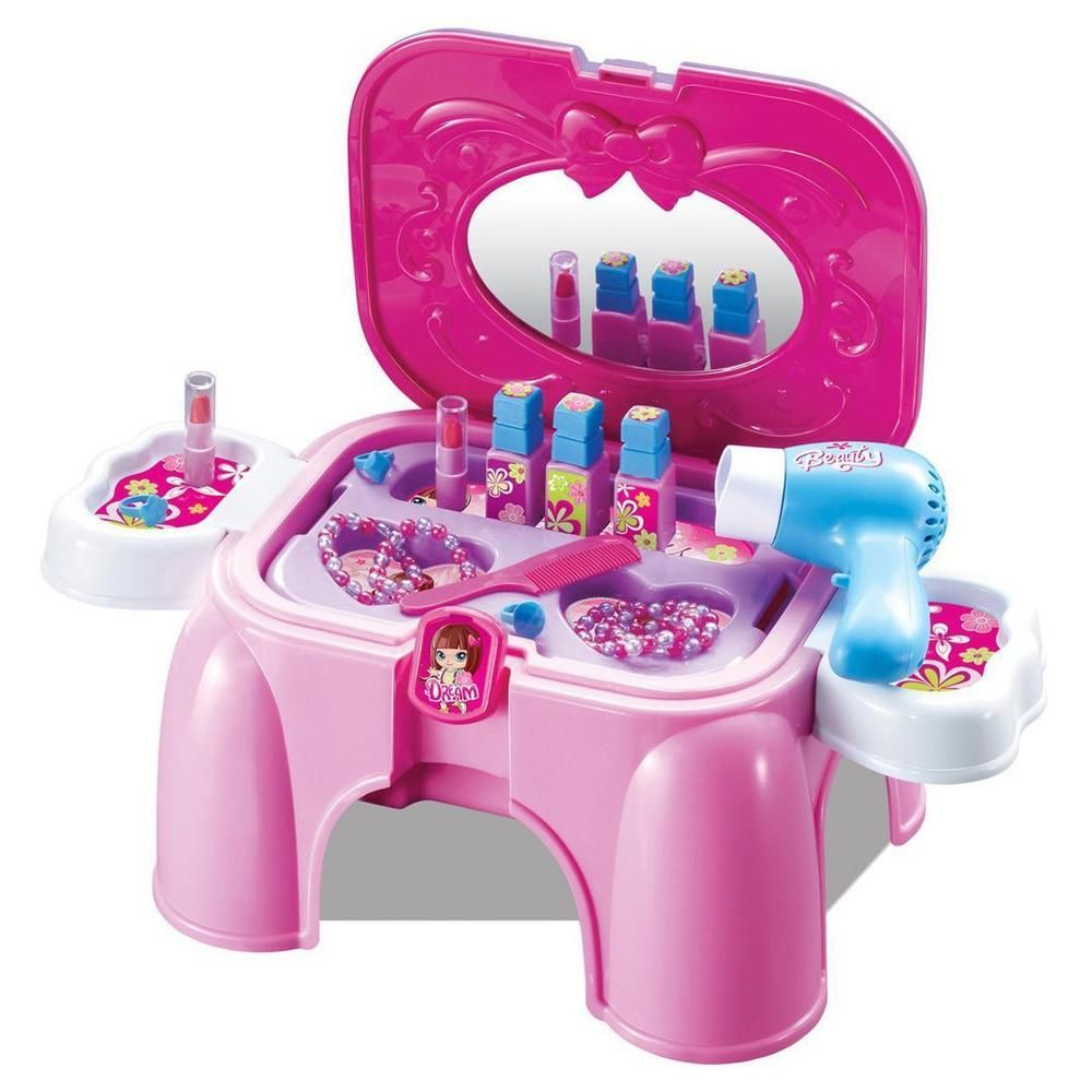 Girls Toy Storage Dressing Table Dressing Mirror Play Set