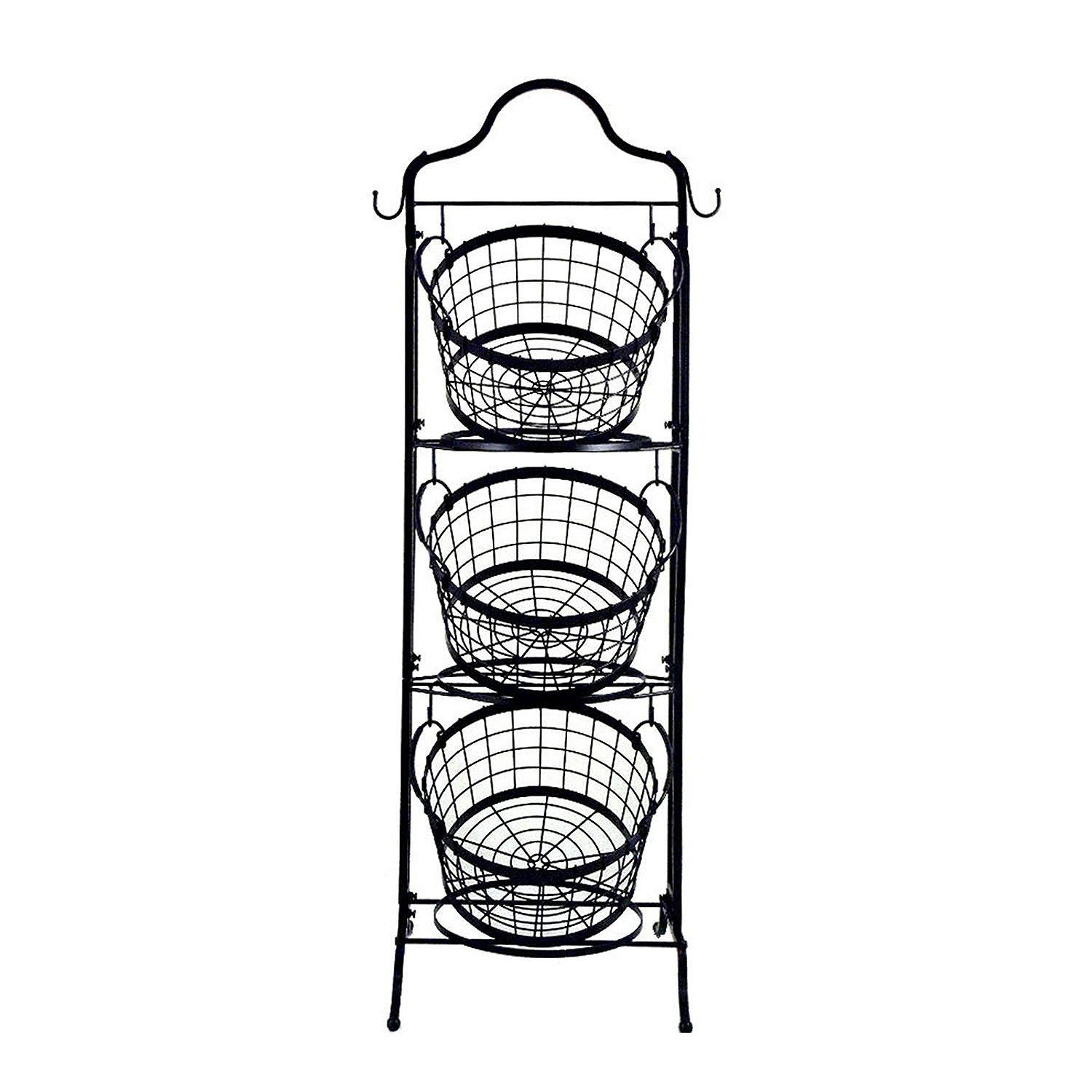 Amazon Com 3 Tier Floor Stand Bushel Basket Cell Phones Accessories Bushel Baskets Decorative Storage Baskets Tiered Basket Stand