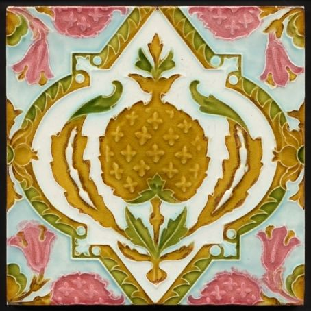 Antique Gothic Floral Majolica Tile Pilkington C 1905 Antique Tiles Ceramic Tile Art Vintage Tile