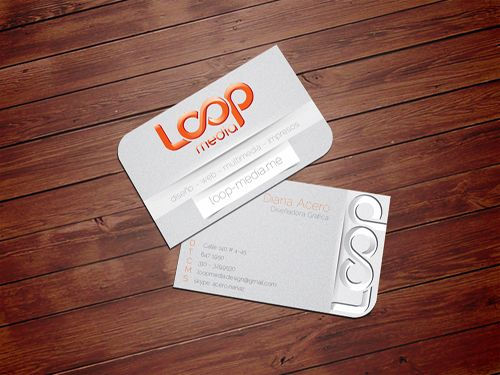 Loop media business card two sided bright silver and white loop media business card two sided bright silver and white business card with 2 rounded corners designed by diana acero reheart Image collections