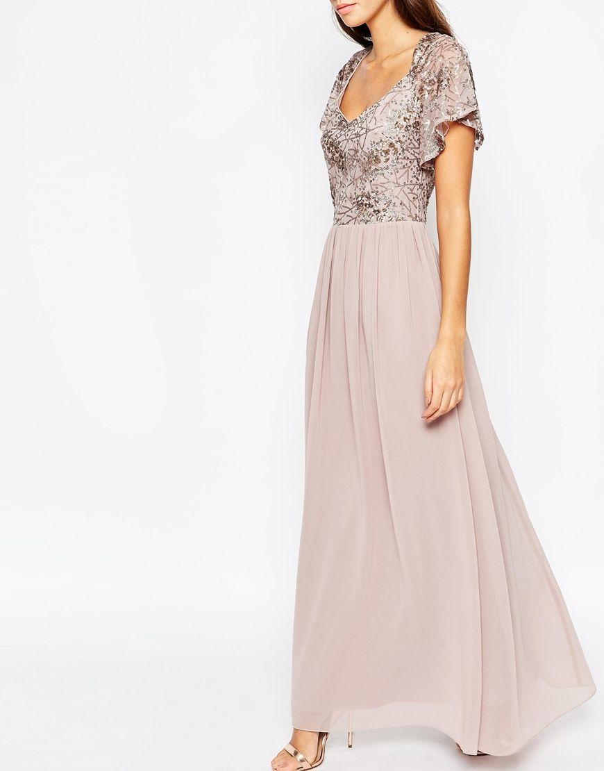 Sequin top chiffon maxi dress