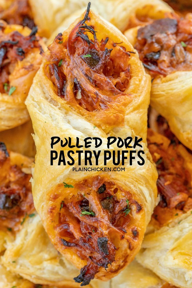 Pulled Pork Pastry Puffs - only 4 ingredients! Great recipe for a quick lunch, dinner or party. Smoky pulled pork tossed with BBQ sauce and cheese then baked in puff pastry. SO good! Can make ahead and freeze for later. We love to serve these with some coleslaw and extra BBQ sauce or Ranch for dipping. YUM! #pulledpork #partyfood #appetizer #tailgating #tailgatefood