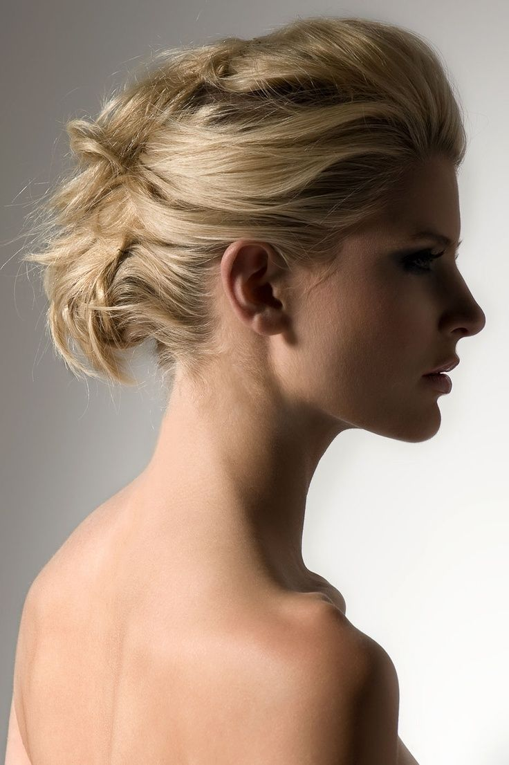 Piled up pinned hair great updo style for medium length hair