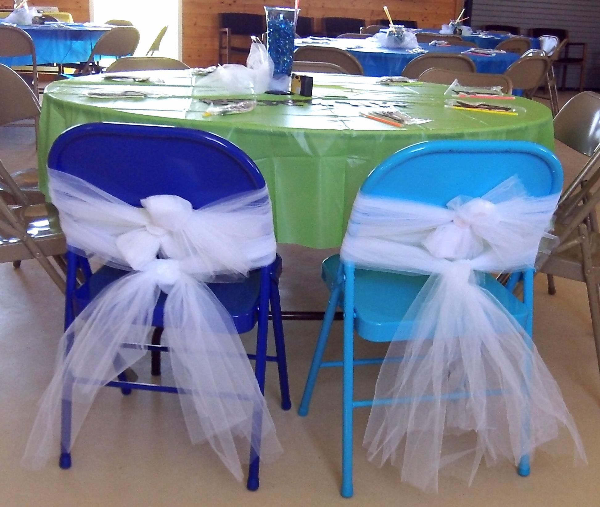 The chairs are brown metal folding chairs. Was thinking of using ...