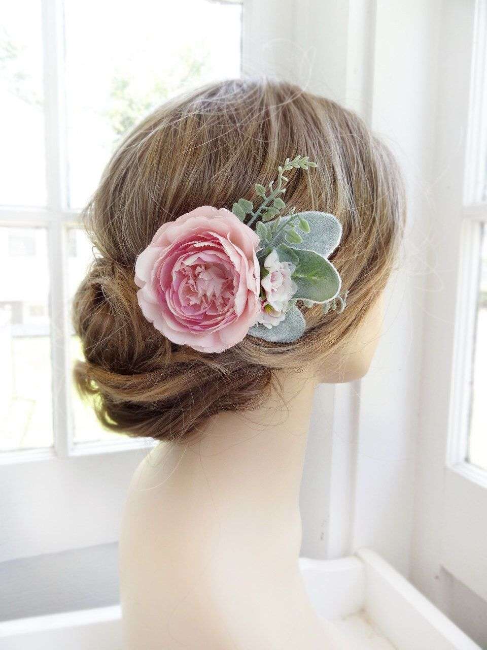 pink hair flower, bridal hair clip, sage green bridesmaid, peony