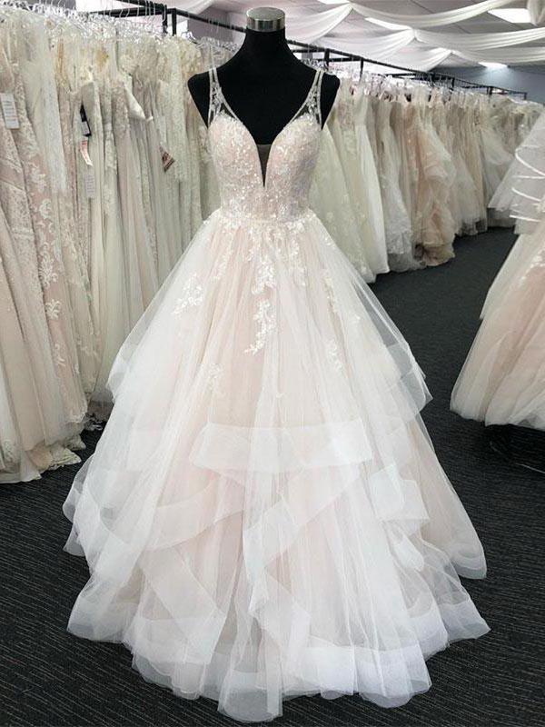 Shinning Sequin Lace Top Deep V Neck Open Back Organza Wedding Dresses Bw0580 Wedding Dress Organza Wedding Dress Necklines Wedding Dresses