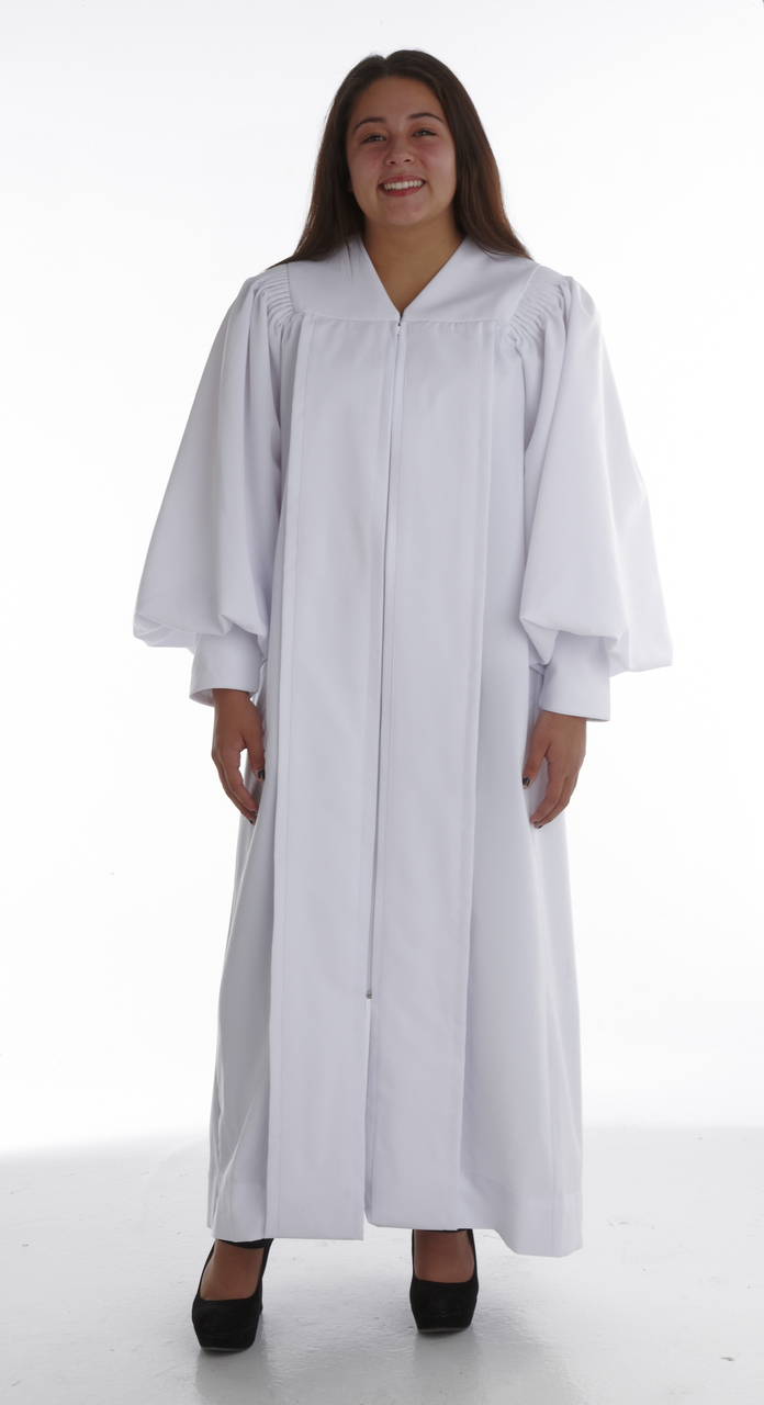 902. Men\'s & Women\'s Clergy Robe - Solid White