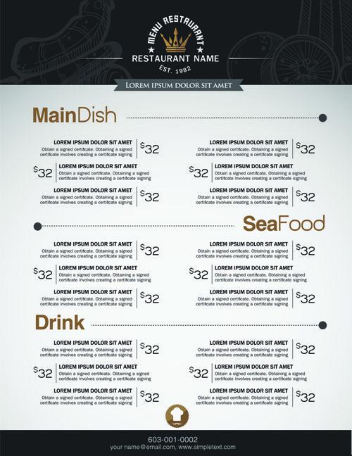 Restaurant menu price list creative vector 03 Vector Pinterest - menu list sample