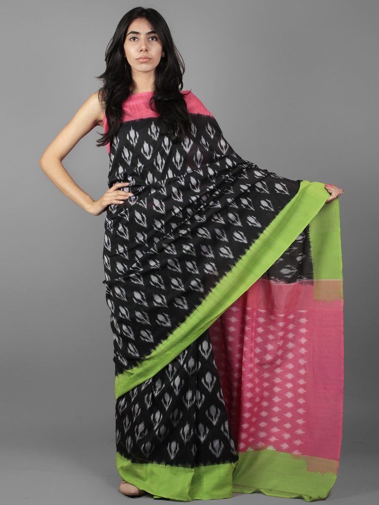 53a4afd352c Black Pink Green Ikat Handwoven Ganga Jamuna Border Pochampally Cotton Saree  - S031701911