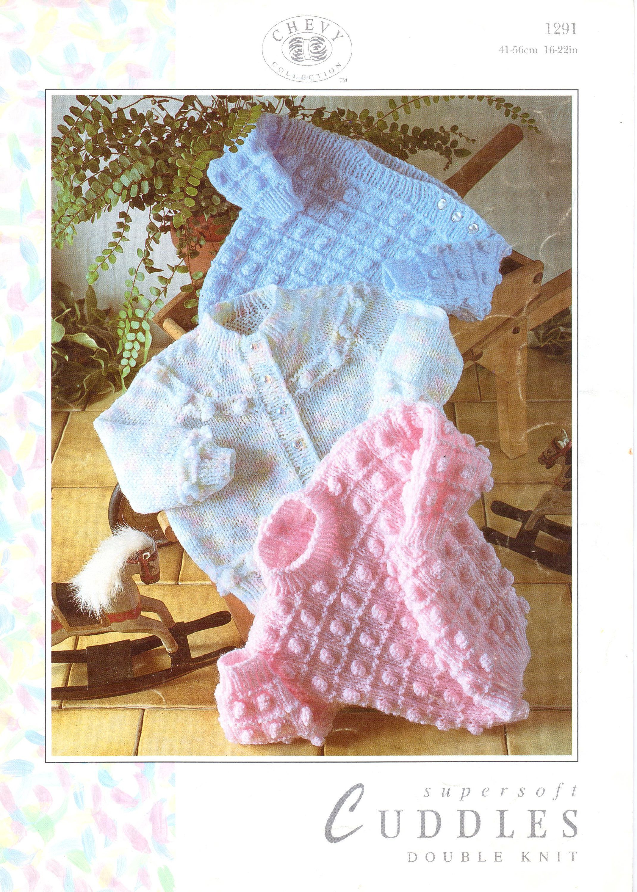"""Lace Bobble /& Textured Baby  Cardigans 16-22/"""" Knitting Pattern DK ~ 3  Designs"""