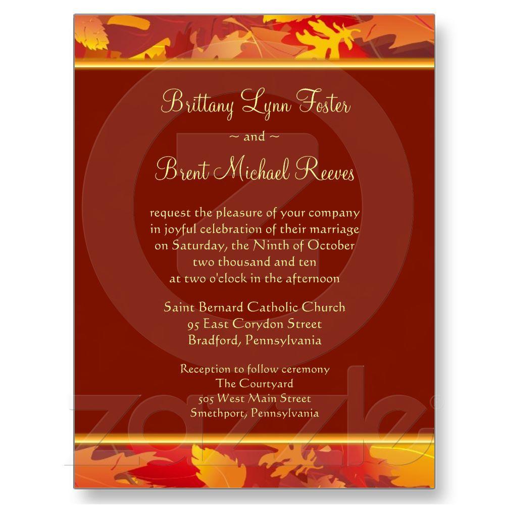 Sample Wedding Invitation - Fall Leaves Border Postcard   Dream ...