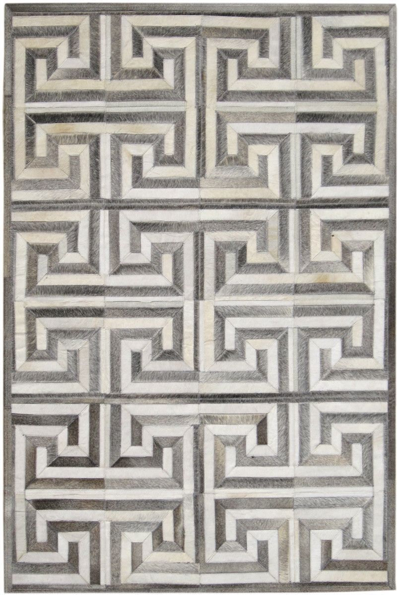 Madisons Gray And White Cowhide Rug Patchwork Maze Pattern Cow Hide Rug White Cowhide Rug Patchwork Rugs