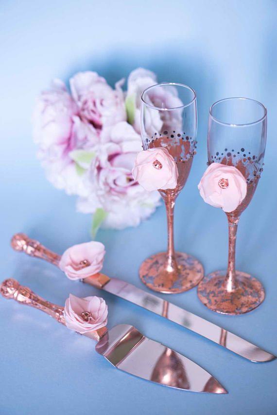Pink Rose Gold Wedding Set, Rose Gold Champagne Flutes, Rose Gold Cake Server, Wedding Knife Set, Mercury Glass, Blush Champagne Flutes, Set