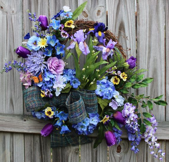 Purple and Blue Spring Iris and Wisteria Cottage Wreath, by IrishGirlsWreaths, $139.99- *SOLD!*