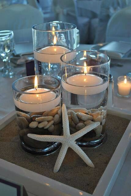 Diy Beach Themed Wedding Centerpiece Gl Vessels Floating Candles River Rocks A Little Sand And Starfish