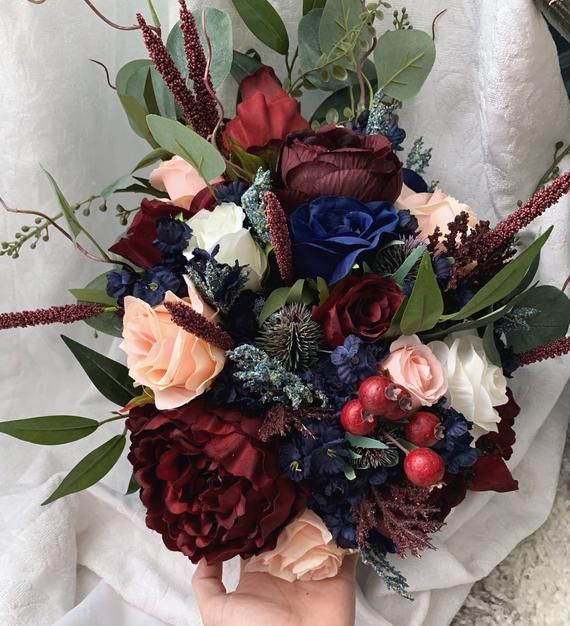 Cascading Wedding Bouquet Burgundy Navy Blue Red Peony Eucalyptus Wedding Maroon Package Handmade Ar #fantasticweddingbouquets