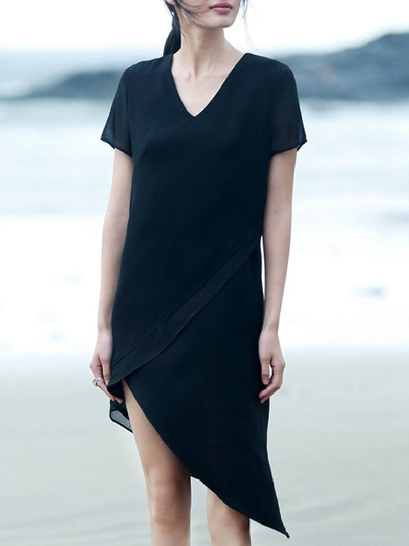 Shop short sleeve simple v neck polyester midi dress online the