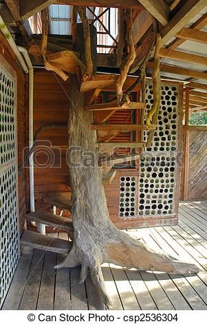 Build Stairs Around Tree Trunk For Treehouse Rustic