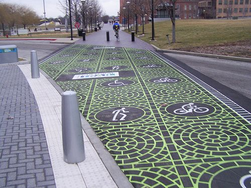 Street Crossing Indianapolis Cultural Trail Pedestrian