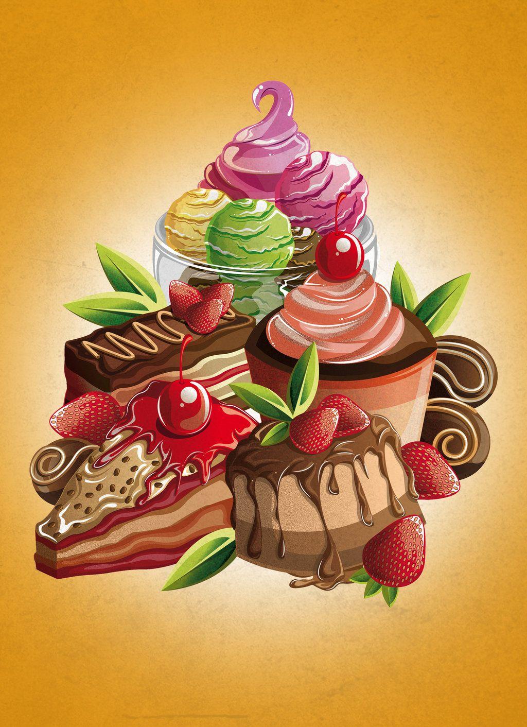 Картинки пирожных и тортов нарисованных