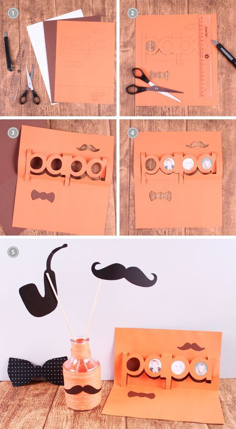 vatertagsgeschenk basteln pop up karte selber machen. Black Bedroom Furniture Sets. Home Design Ideas