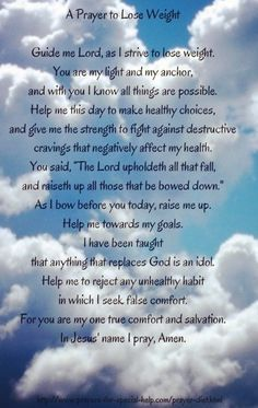 prayer to lose weight. New Years resolution