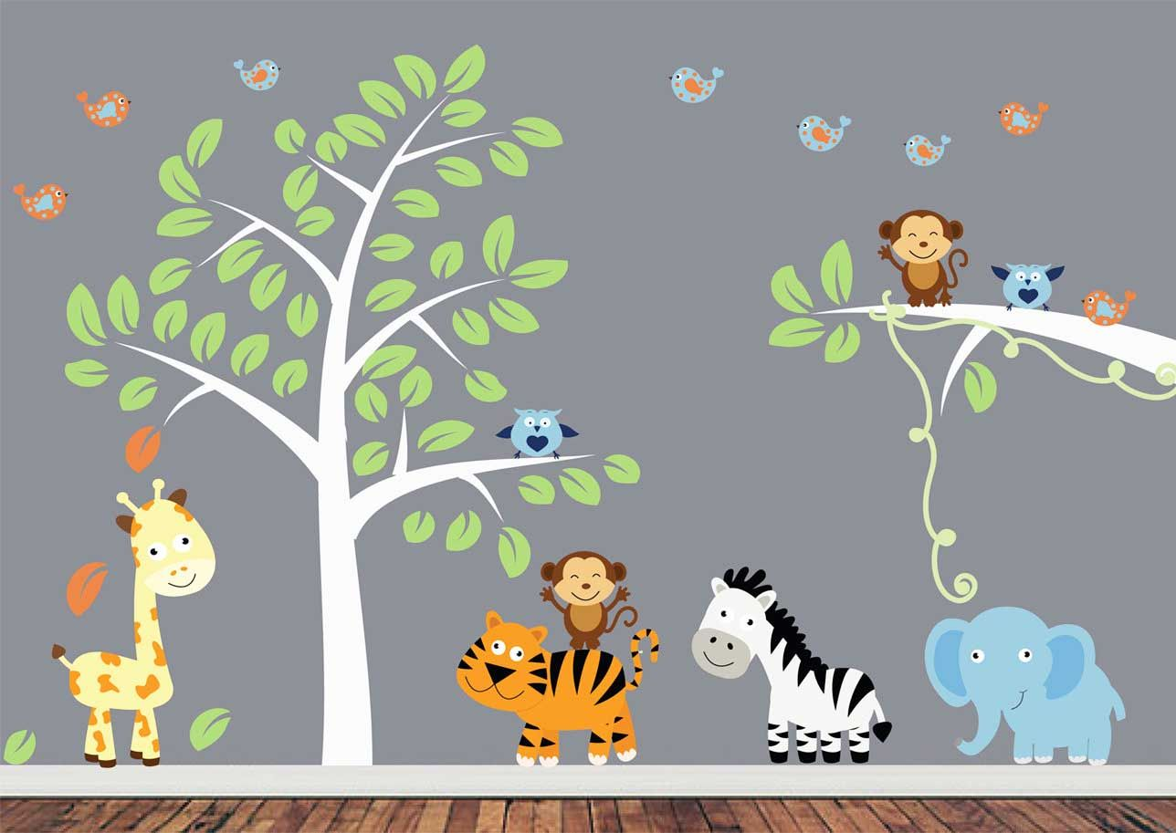 Baby boy room decor stickers - Jungle Animals Wall Decals Jungle Animal Wall Decals With Tree Giraffe Tiger Elephant Zebra Boys Room Wall Decals Stickers Girls Boys Room Wall Decor