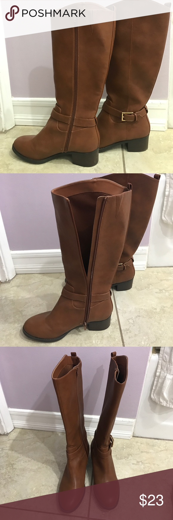 Worn once Old Navy Brown boots size 9 Only worn once! :)  Old Navy Brown boots, size 9 zipper  for easy on  and off  cute buckle. Higher in outside Old Navy Shoes Heeled Boots