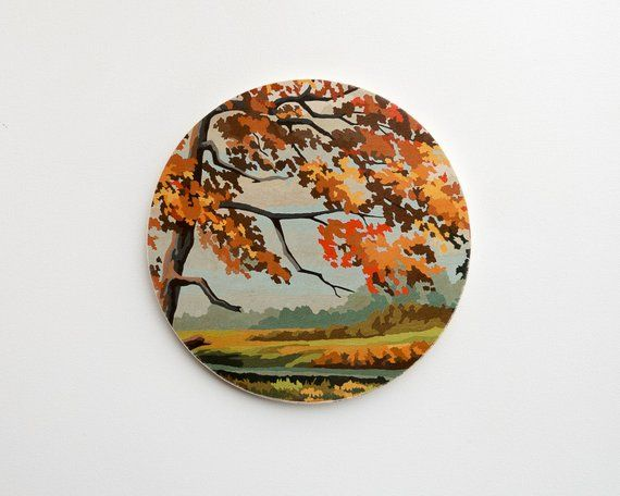 Paint by Number Large Circle Art Block 'Colors of Autumn' - fall scenery,  vintage landscape #fallscenery