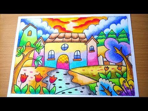Menggambar Pemandangan Alam Rumah Dengan Gradasi Crayon Oilpastel Drawing Scenery Of House Youtube Seni Krayon Pemandangan Drawing