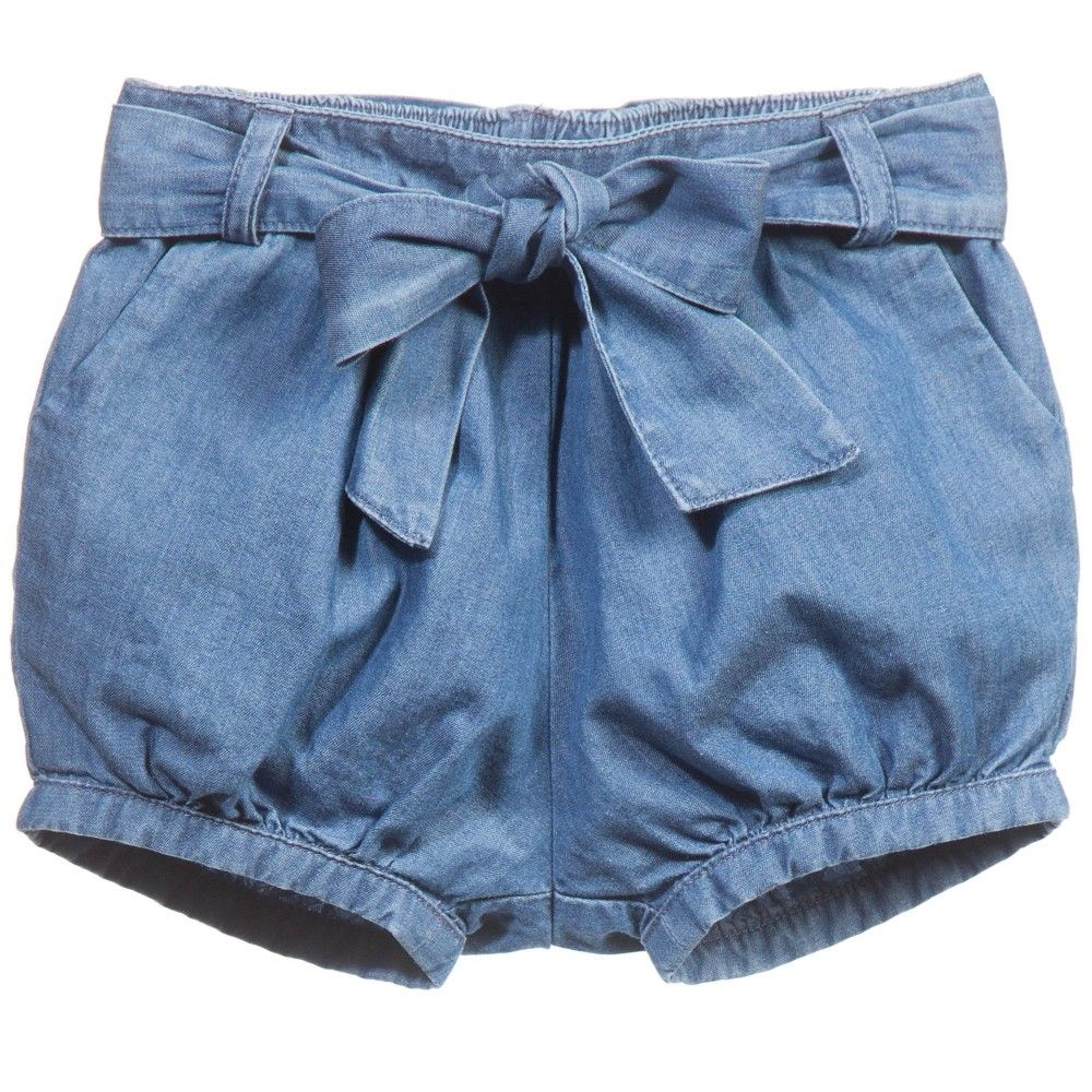 Chloé Baby Girls Blue Cotton Denim Shorts at Childrensalon.com ...