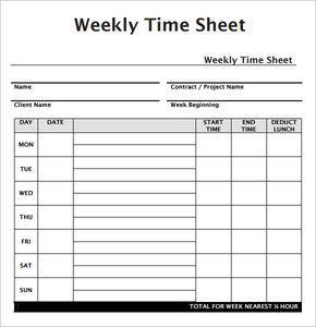 weekly employee timesheet template food pinterest timesheet