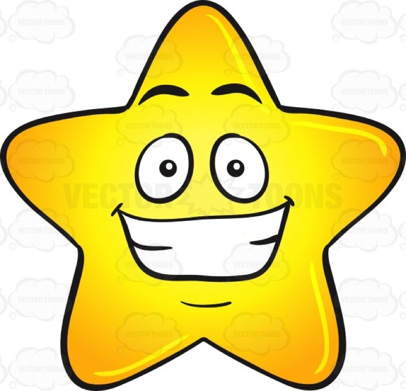 Gold Star Cartoon With Cheesy Big Grin Emoji Emoji Stars Cartoon Clip Art