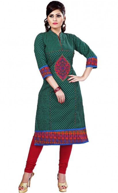 Work-In middle pannel given resham butta gher & sleeves made by contrast cotton print Fabric- Cotton