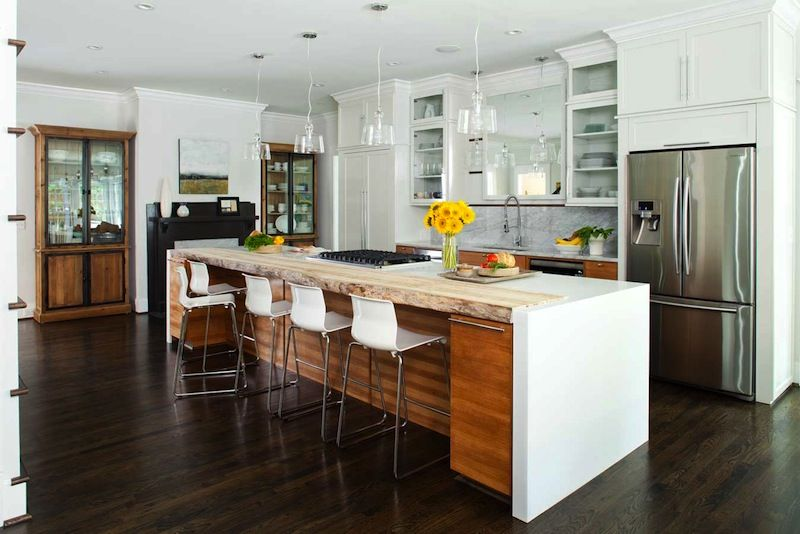 entracing hickory home and garden hickory north carolina. Modern kitchen design with hickory wood cabinetry  corian countertop and live edge island inset