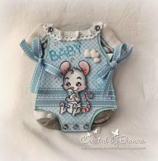 Stempeleinmaleins: Babybody Karte mit echten Söckchen / Baby onesie card with real little socks