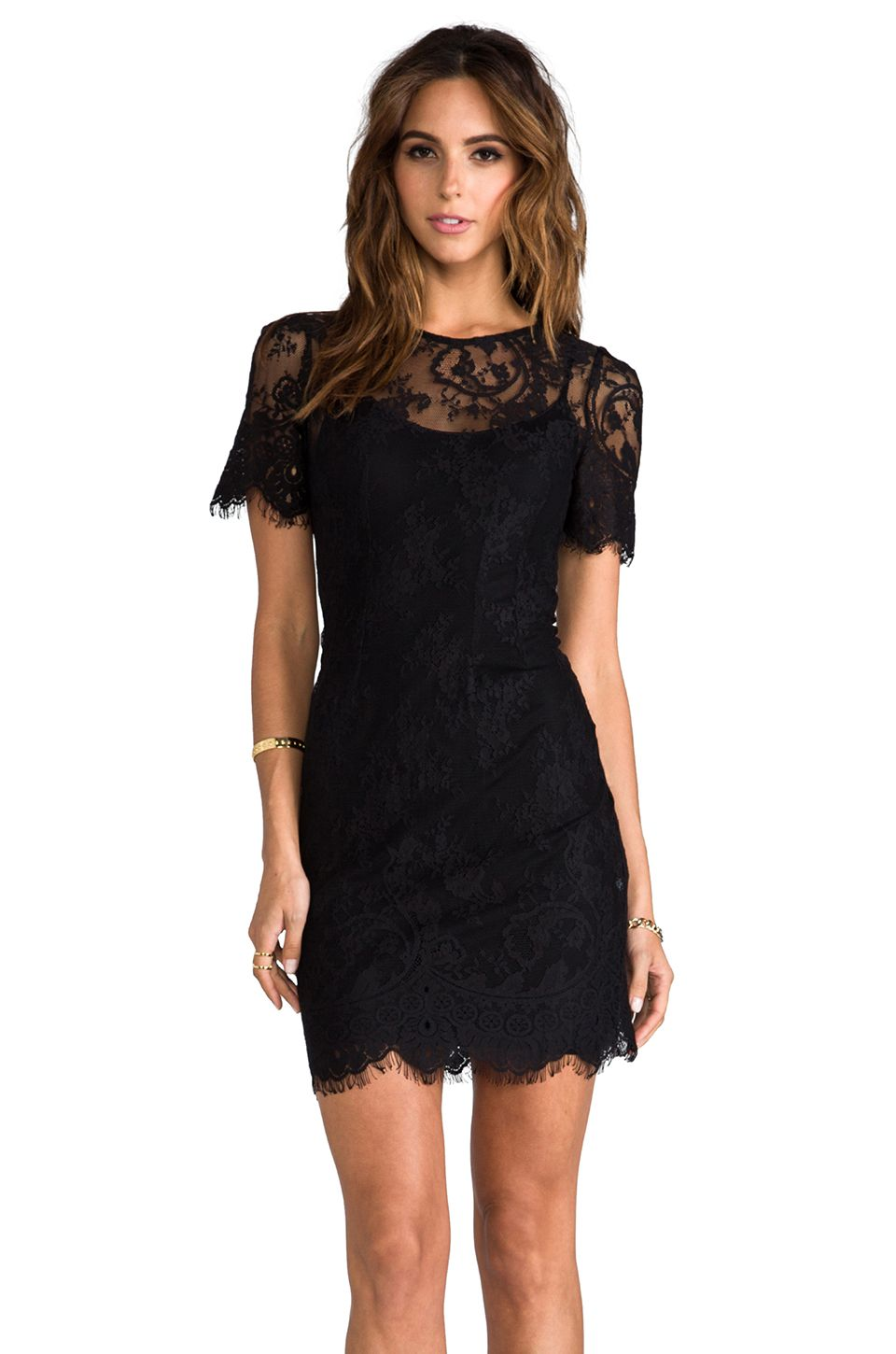957a217b41 Shop for BB Dakota Princeton Ponte Dress w  Lace Sleeves in Black at  REVOLVE.  REVOLVEclothing EVETTE LACE DRESS WITH SLIP WHITE SUEDE