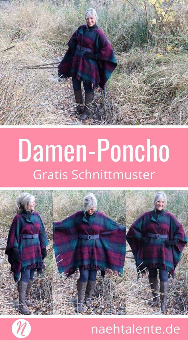 Karierter Damen-Poncho | Für damen, Deckchen und Kostenlos