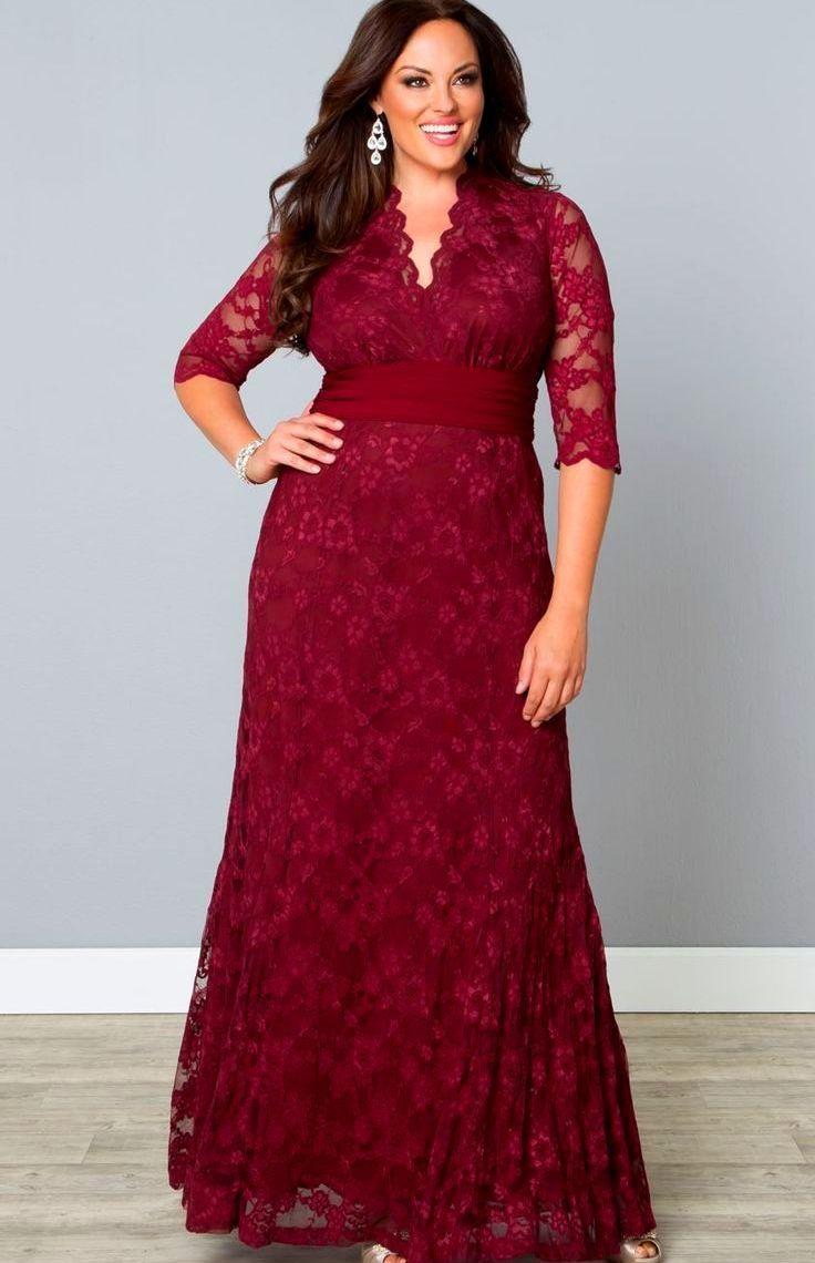 da637e482f9 Длинное красно-бордовое платье с V-образным вырезом для полных женщин