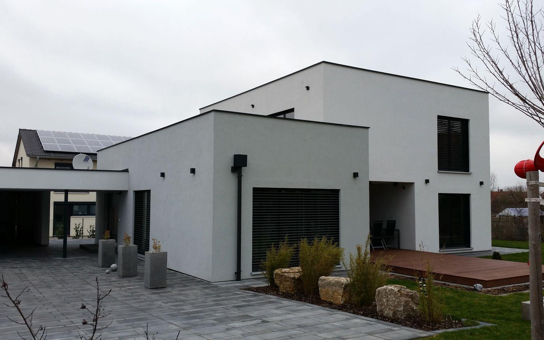 Einfamilienhaus modern Holzhaus Flachdach modern Fenster modern ...