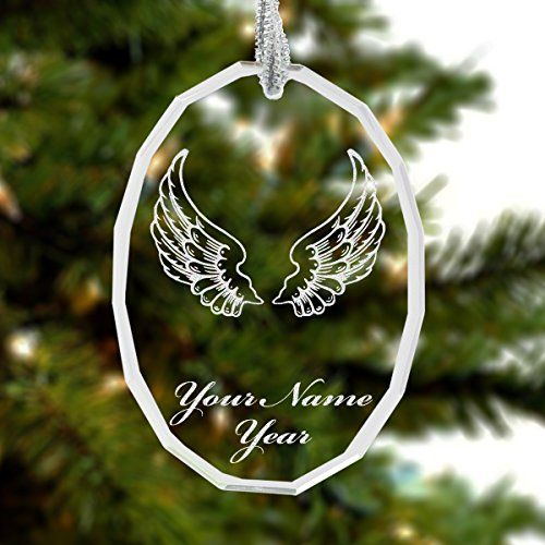 Personalized Glass Crystal Christmas Ornament  Angel Wings  Engraved For Free * Click on the affiliate link Amazon.com on image for additional details.