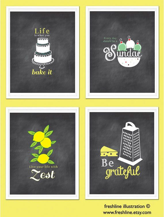 Kitchen Wall Art Inspirational Quotes Funny Kitchen Signs Chalkboard Inspired Prints Set