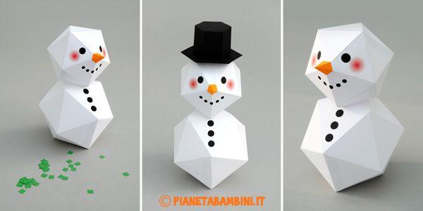 Pupazzo di neve di carta da stampare, ritagliare e costruire