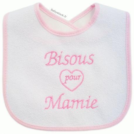 d79321c719cf1 Bavoir en éponge dos doublé PVC brodé Bisous pour Mamie rose à 2,99 ...