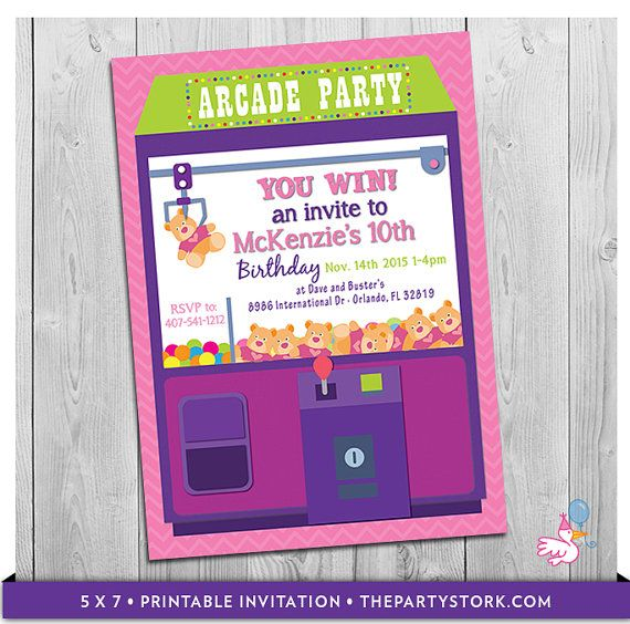 Arcade Video Game Birthday Party Invitations – Arcade Party Invitations