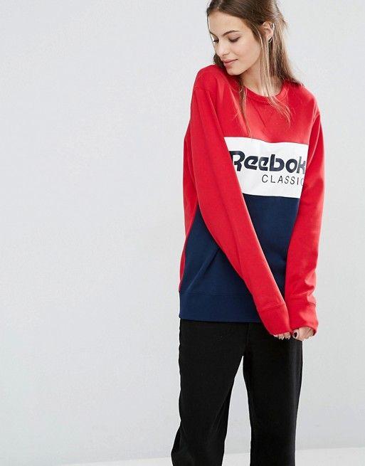 Reebok Classics Panel Logo Oversized Sweatshirt In Red And